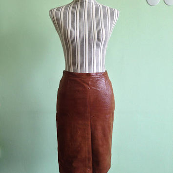 Mariella Burani Designer Skirt, Vintage 80s Real Leather Skirt, Brown Leather Skirt, Textured Leather Fitted Pencil Skirt, Size US 8 S