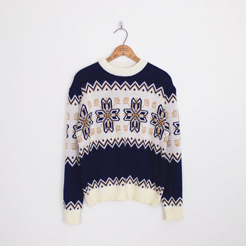 navy blue fair isle sweater, fairisle sweater, nordic sweater, ski sweater, snowflake sweater, 70s fair isle jumper, 70s sweater, mens m