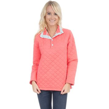 The Lawson Quilted Pullover in Coral by Lauren James - FINAL SALE