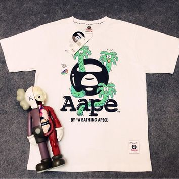 AAPE BAPE Summer Fashionable Couple Leisure Print Shirt Top Tee White