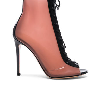 Gianvito Rossi Patent & Latex Ree Lace Up Ankle Boots in Black & Blush | FWRD