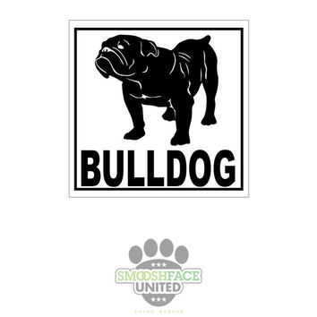 English bulldog vinyl decal car stickers - square decal with bulldog silhouette - #bullylove - Smooshface United