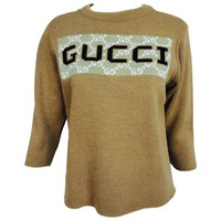 Vintage Gucci novelty logo sweater 1970s