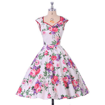 Belle Poque Floral Print Women Dress 2017 Summer Casual robe Retro 50s Vintage Rockabilly Swing Dresses Plus Size Pinup Clothing