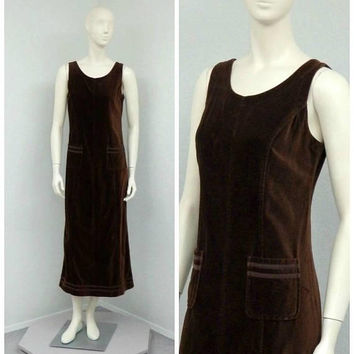 Vintage 90s Laura Ashley Dark Brown Velvet Dress, Jumper Dress, Shift Dress, Maxi Dress, Overall Jumper, Overall Dress, Velvet Jumper