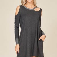 Grey Cold Shoulder Pocket Dress (final sale)