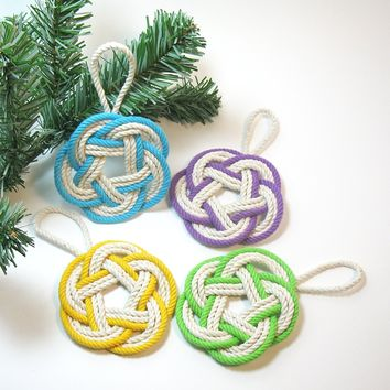 Sailor Knot Christmas Ornaments Striped Tropical Colors