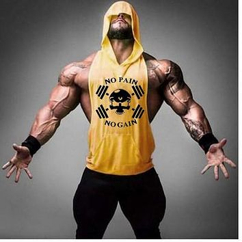 Bodybuilding stringers sleeveless hoodie gyms tank tops for men golds singlets shirt cotton fitness clothing