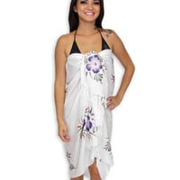 Island White Sarong with Purple Hibiscus