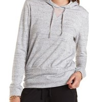 Mesh-Trim Tunic Hoodie by Charlotte Russe