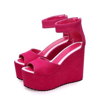 Cali Ankle Strap Wedge Heeled Sandals 3 Colors