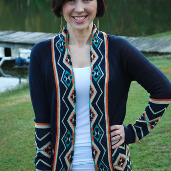 Aztec Pattern Print Knit Sweater