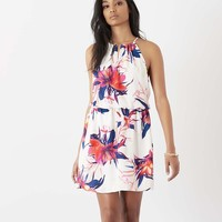 Fit and Flare Halter Dress with Cutout