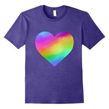 Rainbow Faux Holographic Heart T-Shirt