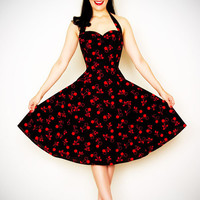 Heartbreaker 50's Style BadaBing Black Cherry Swing Dress - XS to 2XL - Unique Vintage - Cocktail, Pinup, Holiday & Prom Dresses.