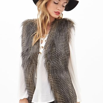 Contemporary Two-Tone Faux Fur Vest