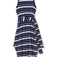 Stripe wrap-belt midi dress | Gap
