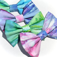Watercolor Hair Bow by Dimeycakes on Etsy