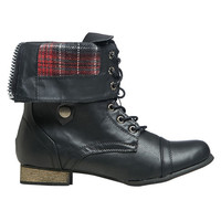 Combat Plaid Foldover Boot
