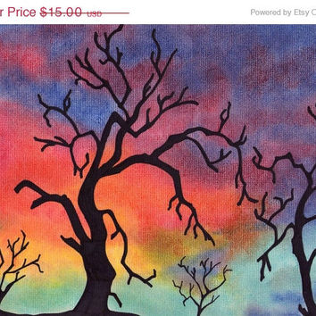 Pastel Colorful Trees 9x12 Drawing, Tree Artwork, Colorful Pastel Background, Wall Decor Tree Art, Gift Idea, Nature, Sky Art,