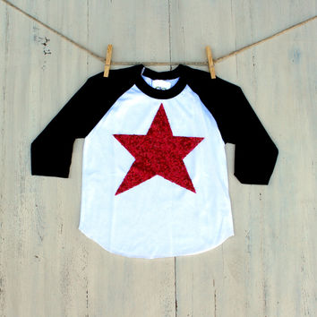 Baseball Raglan Sequin Star Shirt - Red Silver or Blue - Women Infant and Toddler Sizing Available