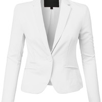 LE3NO Womens Classic Fit Long Sleeve Blazer Jacket with Stretch
