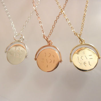 Hidden message pendant necklace- I love you - spinning charm - love you pendant - spinning necklace - silver- gold - rose gold