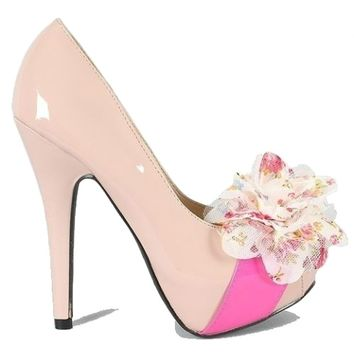 Joyce Nude High #Heel #pump shoes with platform and peep-toe style Mesh #Floral decor