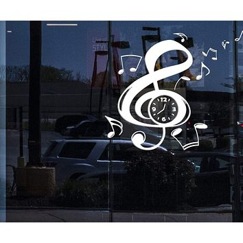 Window Sign Vinyl Decal Music Notation Clef Sign Arrows Clock Wall Sticker (n582w)