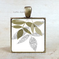 Fall leaves necklace Lichen earth woodland jewelry brown green botanical leaf keyring glass tile jewelry natural history leaf shape twig