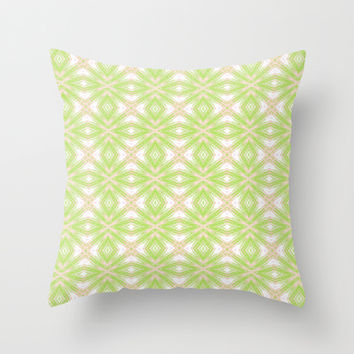 Peach And Green Abstract Print  Throw Pillow by KCavender Designs