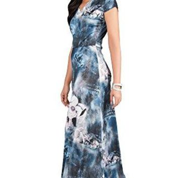 KOH KOH Womens Long Cap Sleeve Floral Print VNeck Boho Flowy Summer Maxi Dress