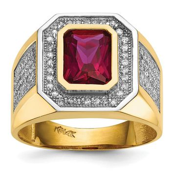14K Rhodium Plated Yellow Gold CZ & Emerald-cut Red CZ Mens Ring