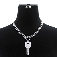 """11"""" crystal square key choker toggle necklace .40"""" earrings"""