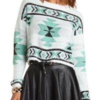 Fuzzy Aztec Pullover Sweater: Charlotte Russe
