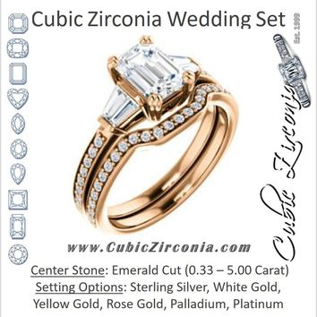 CZ Wedding Set, featuring The Hazel Rae engagement ring (Customizable Emerald Cut Design with Quad Baguette Accents and Pavé Band)