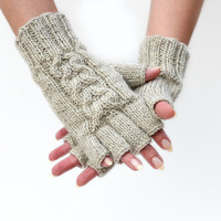 Fingerless gloves wool Oatmeal