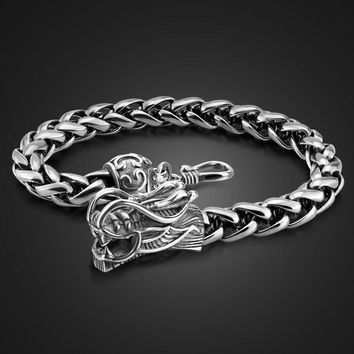 Retro fashion male Thai silver bracelet 925 Sterling silver 8 mm20cm wide bracelet real solid silver dragon bracelet man jewelry