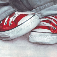 Original watercolor painting of Red Converse All Stars art