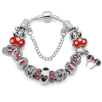 Authentic Silver Handmade DIY Bracelet with Minnie Red Dot