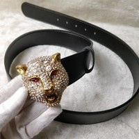 GUCCI Tide brand diamond head tiger head men and women models simple wild smooth buckle belt Gold