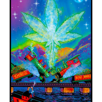 Train Wreck Blacklight Poster