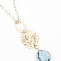 Long Blue Quartz Tear Drop Pendant Necklace, Vintage Inspired, Bohemian Jewelry, Gold, Layering, Free USA Shipping