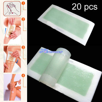 Pro 20 PCS DOUBLE SIDE Cold Aloe Wax Hair Removal Strip For Leg Body and Facial Hair