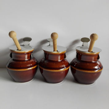 French vintage sauceboats or mustards pots,stoneware pot. old french bistro.