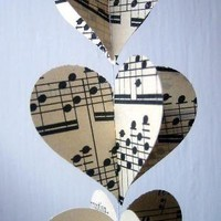 Sheet Music Heart Garland Vintage Sheet Music by MontclairMade