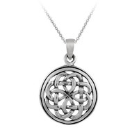 """Sterling Silver Celtic Knot Round Pendant Necklace, 18"""""""