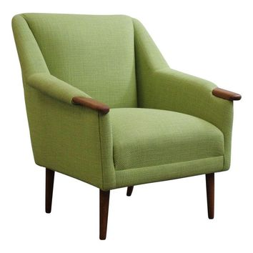 Pre-owned Vintage Green Danish Low Lounge Chair