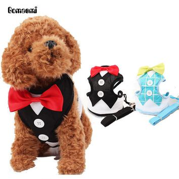 Gomaomi Red Bowtie Tuxedo Dog Harness With Leash