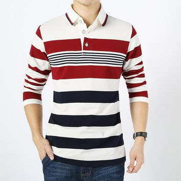 Men England Style Striped Polo Shirt 95% Cotton Long Sleeve